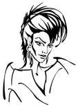 Donna con l'illustrazione dei capelli di scarsità immagine stock