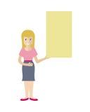 Donna con l'insegna in bianco isolata su bianco Vettore illustrazione vettoriale