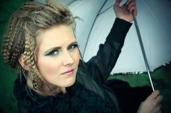 Donna con l'ombrello Fotografia Stock Libera da Diritti