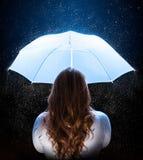 Donna con l'ombrello Fotografie Stock