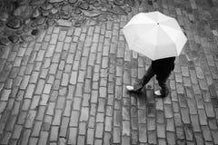 Donna con l'ombrello in pioggia fotografia stock libera da diritti