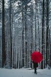 Donna con l'ombrello rosso nella foresta di inverno immagine stock