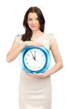 Donna con l'orologio immagini stock