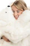 Donna con l'orso di orsacchiotto Fotografia Stock