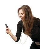 Donna con l'urlo del telefono mobile immagine stock libera da diritti