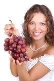 Donna con l'uva fotografie stock libere da diritti