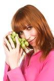 Donna con l'uva Immagini Stock Libere da Diritti