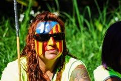 Donna con la bandiera Immagini Stock Libere da Diritti