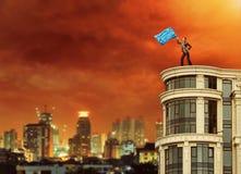 Donna con la bandiera Fotografia Stock Libera da Diritti