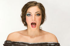 Donna con la bocca aperta Fotografia Stock Libera da Diritti