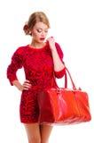 Donna con la borsa Immagini Stock Libere da Diritti