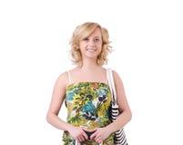 Donna con la borsa di modo Fotografia Stock Libera da Diritti