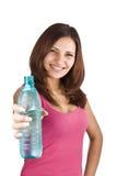 Donna con la bottiglia di acqua Immagini Stock Libere da Diritti