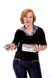 Donna con la carta di credito Immagine Stock