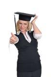 Donna con la cartella e la protezione Immagini Stock