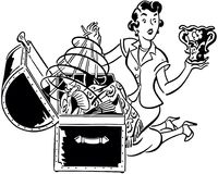 Donna con la cassa da corredo illustrazione vettoriale