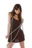 Donna con la catena Fotografia Stock