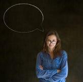 Donna con la conversazione di conversazione del fumetto del gesso Fotografie Stock