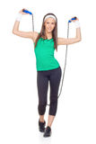 Donna con la corda di salto Fotografia Stock