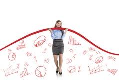 Donna con la curva di statistiche Fotografia Stock