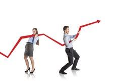 Donna con la curva di statistiche Immagine Stock