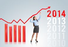 Donna con la curva di statistiche Immagini Stock Libere da Diritti