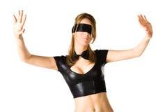 Donna con la fascia sugli occhi fotografia stock