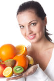 Donna con la frutta, isolata fotografia stock libera da diritti