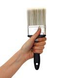 Donna con la grande spazzola di pittura Immagini Stock Libere da Diritti