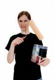 Donna con la latta della pittura Immagini Stock Libere da Diritti