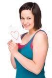 Donna con la lettera di amore Fotografie Stock