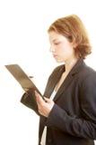 Donna con la lista di controllo Fotografia Stock