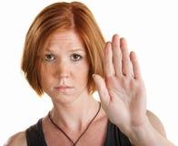 Donna con la mano in su immagine stock libera da diritti