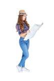 Donna con la mappa Fotografia Stock Libera da Diritti