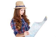 Donna con la mappa Fotografie Stock