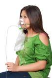 Donna con la maschera di ossigeno Fotografie Stock