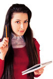 Donna con la matita ed il blocchetto per appunti Immagini Stock Libere da Diritti