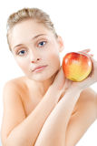 Donna con la mela Fotografia Stock