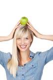 Donna con la mela Immagine Stock