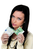 Donna con la metà un dell'euro Fotografia Stock