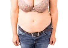 Donna con la pancia grassa fotografia stock libera da diritti