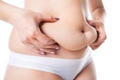 Donna con la pancia grassa, ente femminile di peso eccessivo isolato su fondo bianco immagine stock