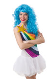 Donna con la parrucca colourful isolata Fotografie Stock