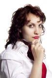 Donna con la penna Fotografia Stock