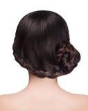 Donna con la pettinatura castana della treccia e dei capelli fotografia stock