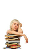 Donna con la pila di libri Fotografia Stock