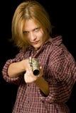 Donna con la pistola Immagini Stock Libere da Diritti