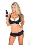 Donna con la pistola Fotografie Stock Libere da Diritti