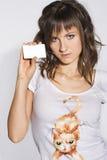 Donna con la scheda Fotografia Stock Libera da Diritti