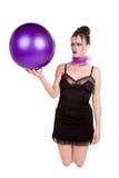 Donna con la sfera Fotografia Stock